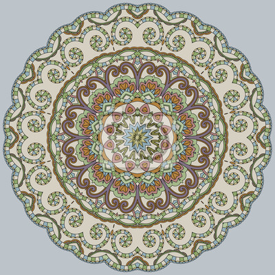 Ozdobne koronki kolor na niebieskim tle. Floral mandala