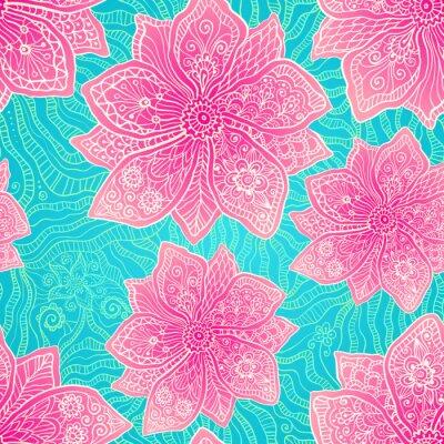 Obraz Ozdobny fioletowe kwiaty na niebieskim tle koronkowy