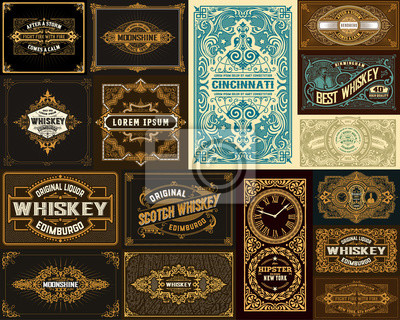 Obraz Pack of 16 vintage designs for packing
