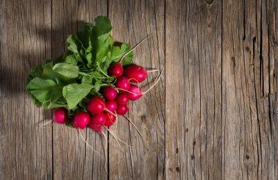Obraz Paczka świeże rzodkiewki organicznych, widok z góry
