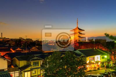Pagoda Yasaka i Sannen Zaka ulicy w godzinach wieczornych