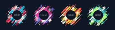 Obraz Paint brush promotion template designs, colorful geometric sale banners. Vector set