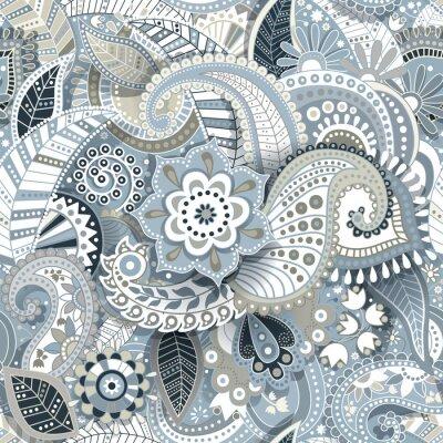 Obraz Paisley szwu z efektem cienia. Kwiatu tapety