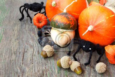 Obraz pająki, dynie, orzechy, agrest peleryna. halloween still life
