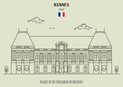 Palace of the Parlement of Brittany in Rennes, France. Landmark icon