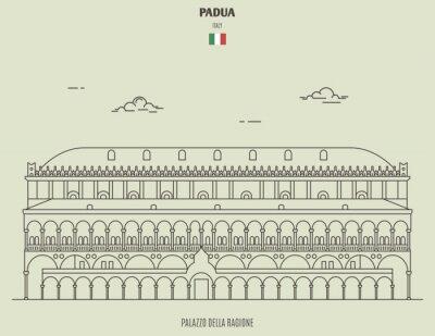 Palazzo della Ragione in Padua, Italy. Landmark icon