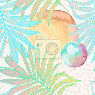 Palm leaf in line art style with water color stains seamless pattern.