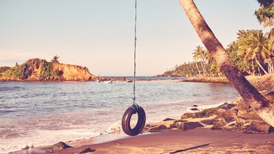 Palm tree with tire swing on a tropical beach, summer holiday concept, color toning applied.
