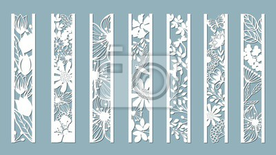 Obraz panels with floral pattern. Flowers and leaves. Laser cut. Set of bookmarks templates. Image for laser cutting, plotter cutting or printing. Tulip, Daisy. plotter and screen printing. serigraphy