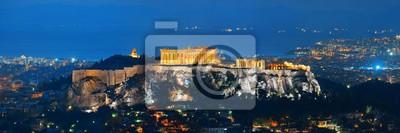 Panorama Aten z nocą Akropolu