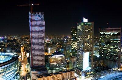 Obraz Panorama centrum Warszawy w nocy