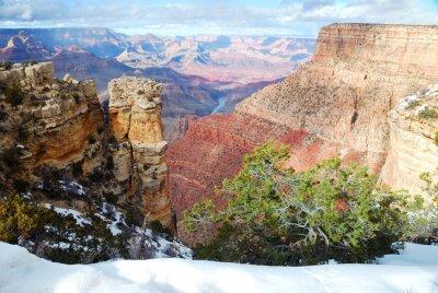 Panorama Grand Canyon wyświetlić w zimie z śniegu