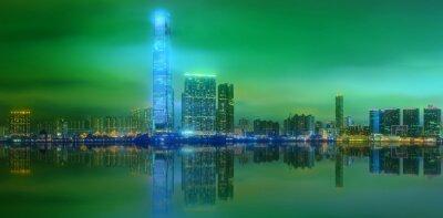 Panorama Hongkongu i dzielnicy finansowej