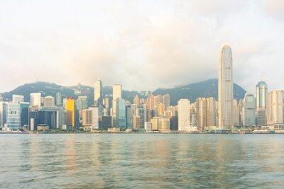 Obraz Panorama Landmark skyscraper buildings at Victoria harbor in Hong Kong City