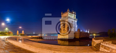 Panorama night view of Belem tower in Lisbon,Portugal.