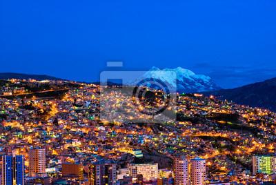 Panorama noc La Paz, Boliwia