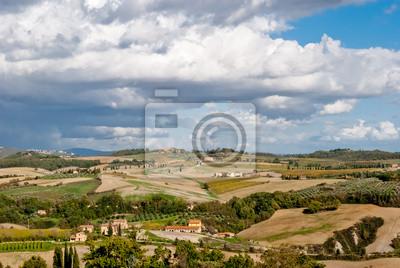 Panorama od Pienza, Toskania, Włochy