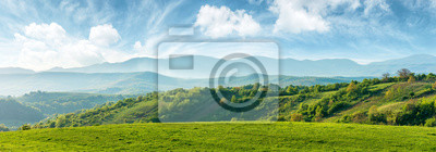 Obraz panorama of beautiful countryside of romania. sunny afternoon. wonderful springtime landscape in mountains. grassy field and rolling hills. rural scenery