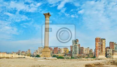 Panorama Pompejusz Filar Amoud Al Sawari, Aleksandria, Egipt.