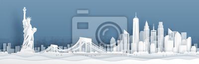 Obraz Panorama widok Miasto Nowy Jork, Stany Zjednoczone Amerrica linia horyzontu z światowymi sławnymi punktami zwrotnymi w papieru cięcia stylu wektoru ilustraci