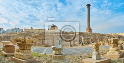 Panorama z Pompejusz filaru i sfinksa, Aleksandria, Egipt