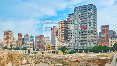 Panorama zrujnowanego Serapeum, Aleksandria, Egipt