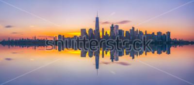 Obraz Panoramę Nowego Jorku odbicia na wschodzie słońca
