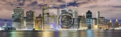Panoramę Nowego Jorku panoramę nocą, USA.