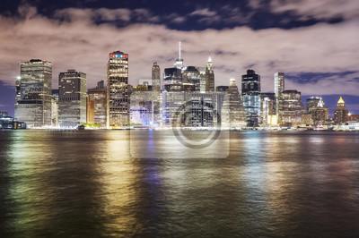 Panoramę Nowego Jorku w nocy, USA