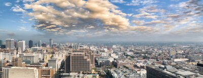 Panoramic aerial view of Downtown Los Angeles at sunset, California, USA