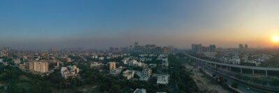 Obraz Panoramic aerial view of Noida,gurgaon, india, Rapid metro tracks in urban areas of Delhi NCR. Cityscape.