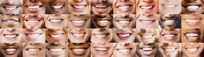 Obraz Panoramic collage of multiethnic people white smiles