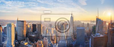 Obraz Panoramic panoramic view of Empire State Building and Manhatten skyline at sunset new york city new york usa