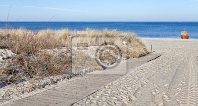 Panoramic picture of path on a beach.