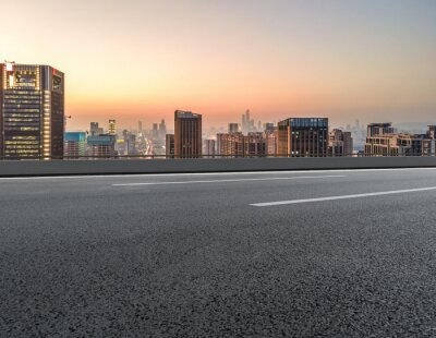 Obraz Panoramic skyline and empty asphalt road with modern buildings