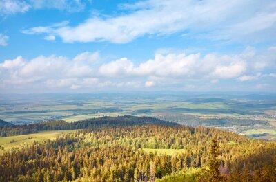Panoramic view from Szczeliniec Wielki, Stolowe Mountains National Park, Poland.