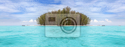 Panoramic view of a tropical island.