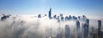 Obraz Panoramic View Of Dubai Marina Buildings  Covered In Fog Against Sky