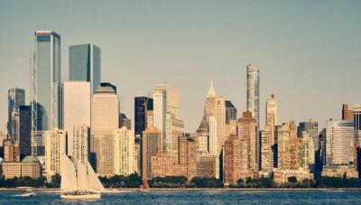 Panoramic view of New York City skyline, color toned picture, USA.