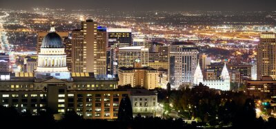 Panoramic view of Salt Lake City at night, Utah, USA.