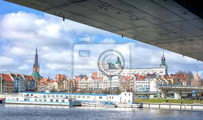 Panoramic view of Szczecin waterfront.