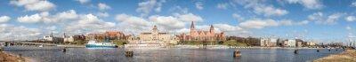 Panoramic view of Szczecin waterfront, Poland.