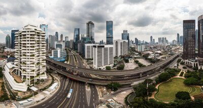 Panoramic view of the Jakarta business and financial district on a cloudy Sunday during the car free day event in Indonesia capital city