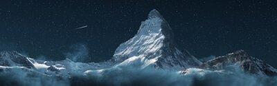 Obraz panoramic view to the majestic Matterhorn mountain at night. Valais, Switzerland