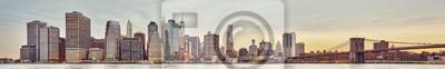 Panoramiczny obrazek Manhattan linia horyzontu przy zmierzchem, Miasto Nowy Jork, usa.
