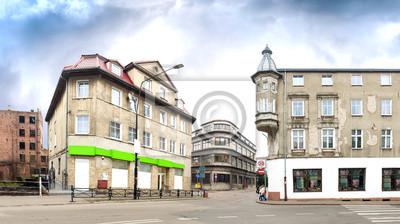 Panoramiczny widok centrum miasta Białogard, Polska.