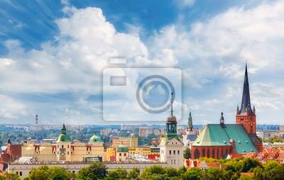 Panoramiczny widok na centrum Szczecina, Polska.