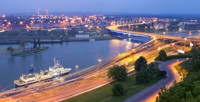 Panoramiczny widok na Szczecin.