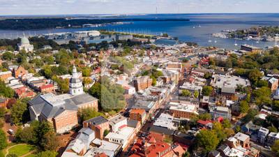 Obraz Panoramiczny widok z lotu ptaka Annapolis Maryland State House Capital City