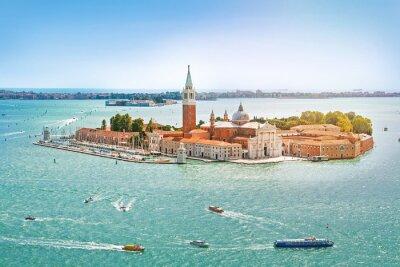 Obraz Panoramiczny widok z lotu ptaka na San Giorgio Maggiore Islandii, Wenecja, Wenecja Euganejska, Włochy